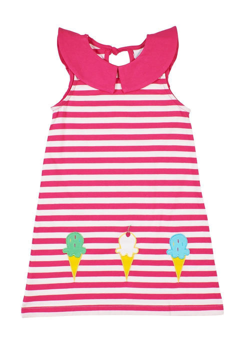 Fuchsia Stripe Dress With Ice Cream Cones