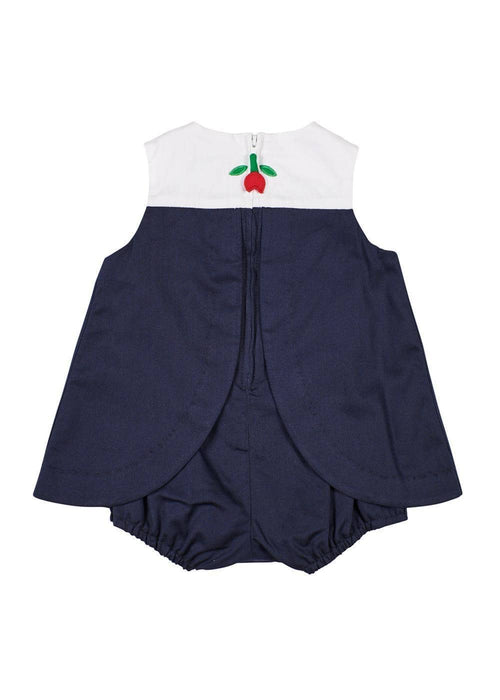 Navy/White Pique Scallop Yoke Romper With Tulips