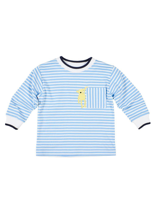 Light Blue Striped Shirt with Monkey Appliqué
