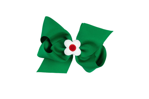 Kelly Green Wee Ones Hair Bow with White and Red Flower