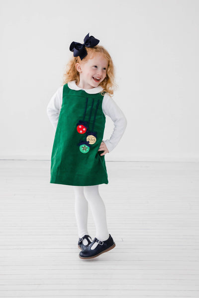 Green Corduroy Jumper with Ornaments