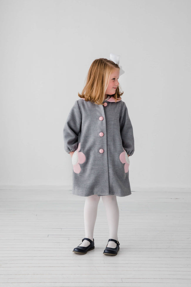 Gray Unlined Coat With Flower Pockets
