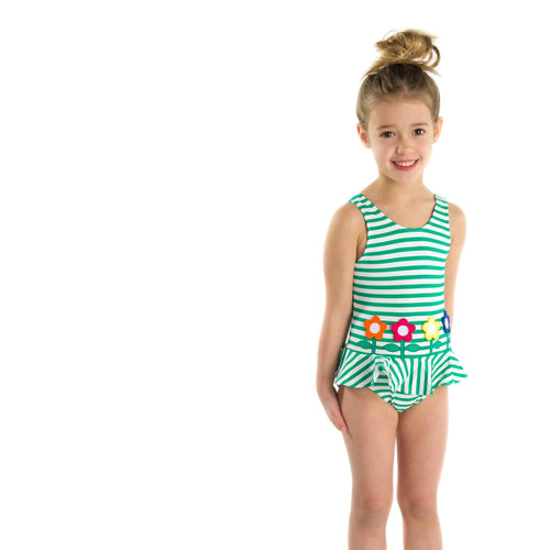 Girls Stripe Swimsuit with Flowers - Florence Eiseman