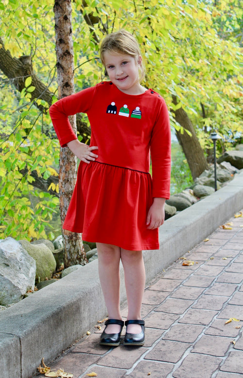 Red French Terry Dress With Knitted Hats