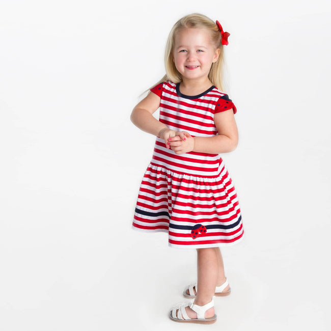 Stripe Knit Dress with Ladybug Sleeves