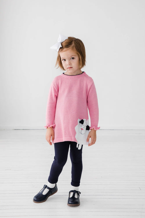 Pink Lamb Sweater with Navy Leggings - Florence Eiseman