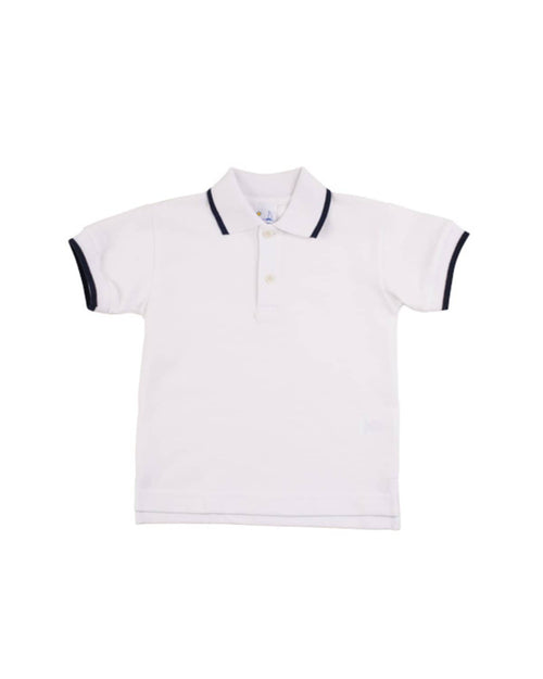 Navy Tipped White Polo Shirt - Florence Eiseman