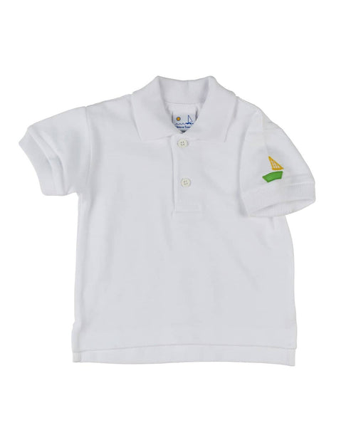 White Polo Shirt with Sailboat Applique - Florence Eiseman