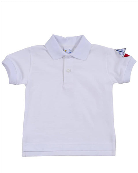 Polo Shirt with Sailboat on Sleeve - Florence Eiseman