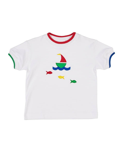 Multi Tipped T-Shirt with Boat and Fish Appliques - Florence Eiseman