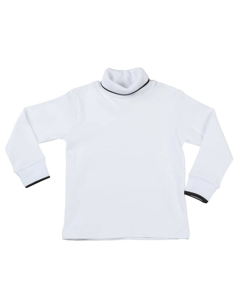 White Turtleneck Shirt with Black Tipping - Florence Eiseman