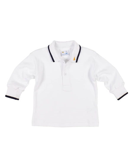 White Pique Knit Polo with Embroidered Airplane