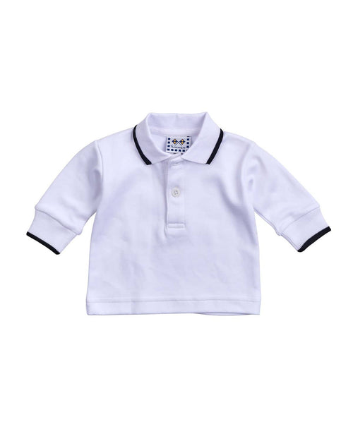 White Long Sleeve Polo with Black Tipping - Florence Eiseman