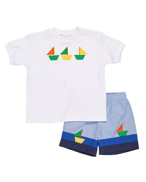 Boys T Shirt with Appliqued Sailboats - Florence Eiseman