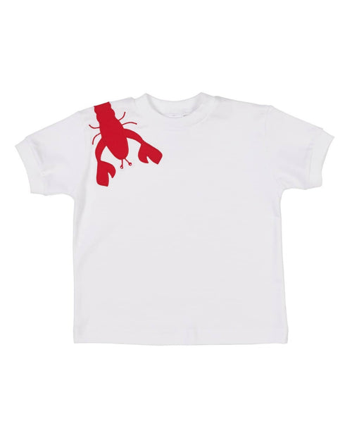 White T-Shirt with Appliqued Lobster - Florence Eiseman