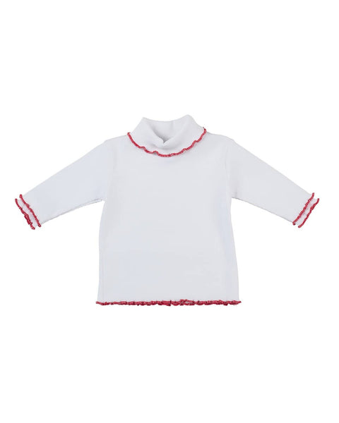 Girls White Rib Turtleneck - Florence Eiseman