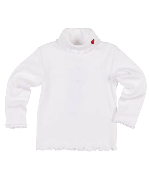 Girls Rib Turtleneck with Heart Applique - Florence Eiseman