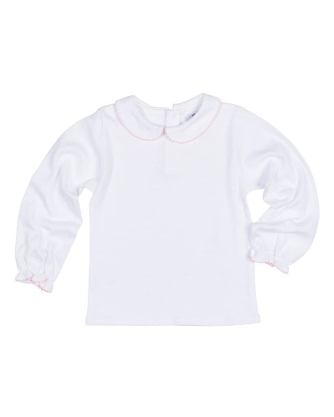 White Knit Blouse with Pink Picot Trim - Florence Eiseman