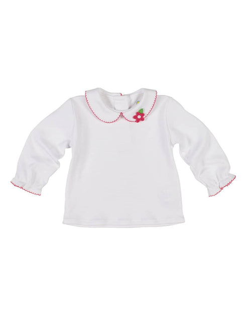 Knit Blouse with Appliqued Flower/Fuchsia Picot Trim - Florence Eiseman