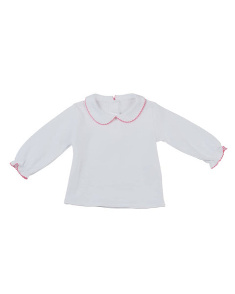 Knit Blouse with Fucshia Picot Edging - Florence Eiseman