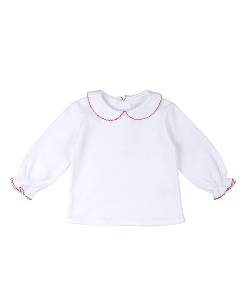 White Knit Blouse with Red Picot Trim - Florence Eiseman