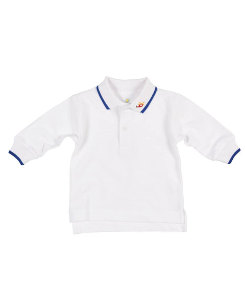 White Long Sleeve Polo with Helicopter Embroidery - Florence Eiseman