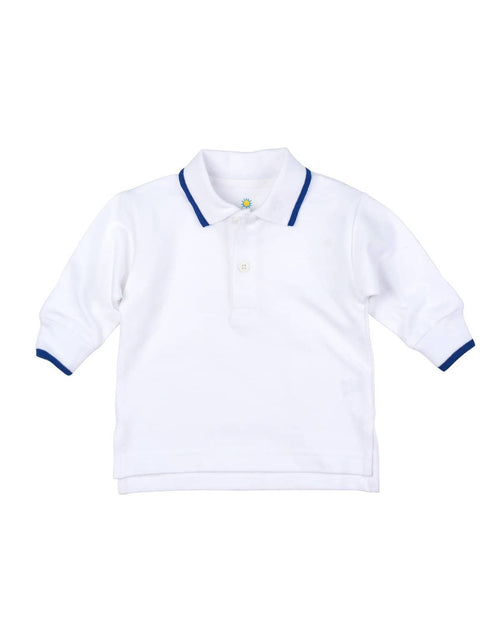 White Polo Shirt with Royal Tipping - Florence Eiseman