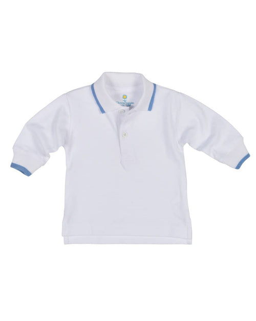 White Pique Polo with Medium Blue Tipping - Florence Eiseman