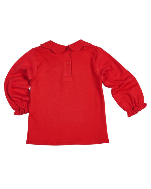 Red Knit Blouse with Scalloped Collar - Florence Eiseman