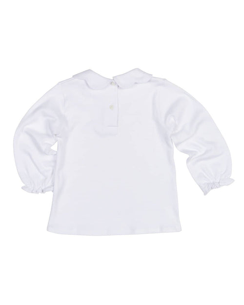 White Knit Blouse with Scalloped Collar - Florence Eiseman