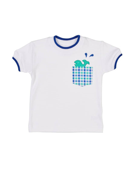 T-Shirt with Navy Tipping and Applique Fish