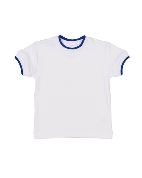 White T Shirt with Blue Tipping - Florence Eiseman