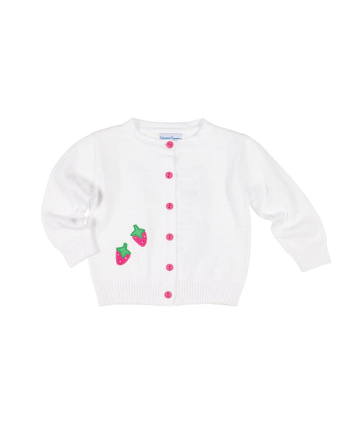 White Sweater with Appliqued Strawberries - Florence Eiseman
