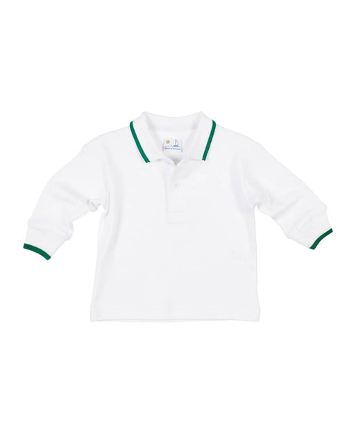 White Polo Shirt with Green Tipping - Florence Eiseman