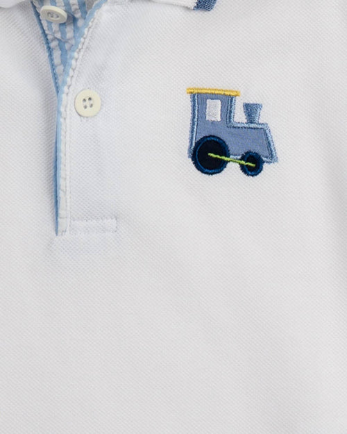 White Polo with Train Applique - Florence Eiseman