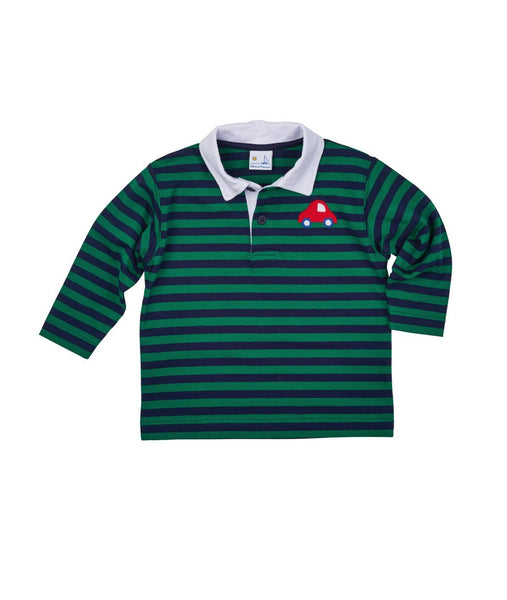 Navy and Green Stripe Polo with Car Applique - Florence Eiseman
