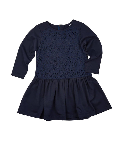 Girls French Terry Dress with Lace Front - Florence Eiseman