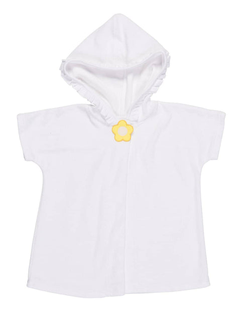 Girls Terry Hooded Cover-up with Yellow Flower - Florence Eiseman
