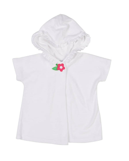 Terry Hoodie Cover-up with Flower Zipper Pull