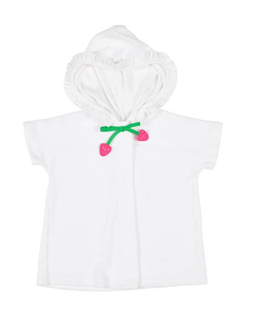 White Terry Cover-up with Strawberry Tie - Florence Eiseman