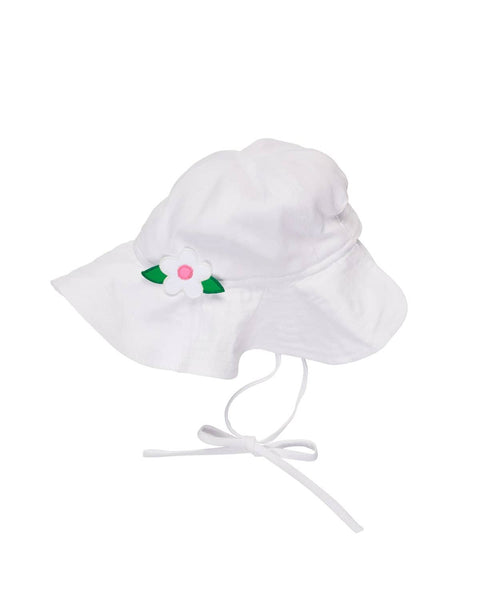 White Beach Hat with Appliqued Flower - Florence Eiseman