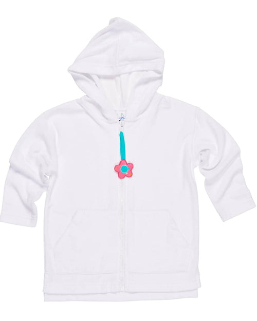 Terry Hoodie Cover-up with Flower Zipper Pull - Florence Eiseman
