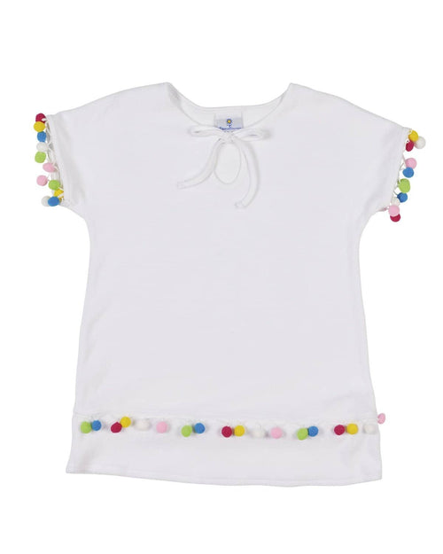 Girls Terry Cover-up with Pom Pom Trim - Florence Eiseman