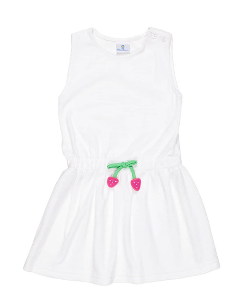 Girls White Terry Cover-Up with Appliqued Strawberries - Florence Eiseman
