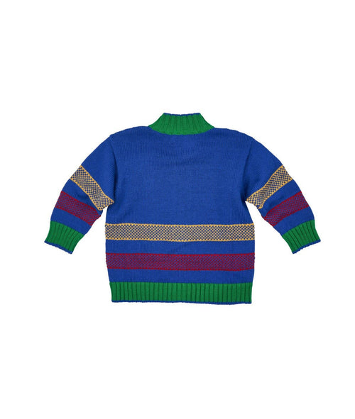 Boys Zip Front Sweater with Intarsia Truck - Florence Eiseman