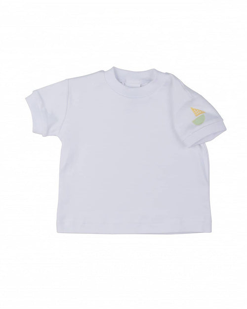 Boys' Classic White T-Shirt with Sailboat Applique - Florence Eiseman