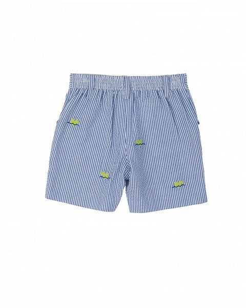 Seersucker Shorts w/ Embroidered Whales - Florence Eiseman