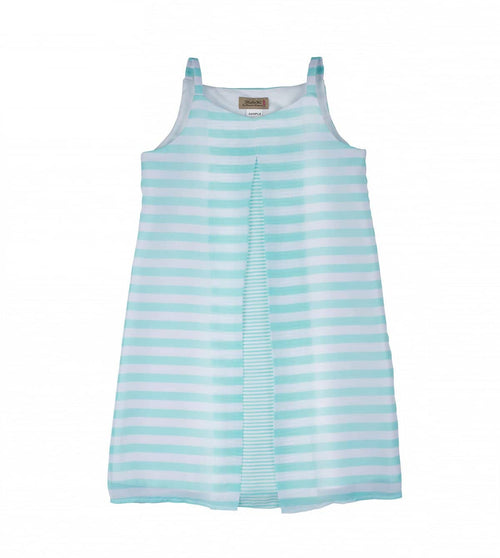 Tween Stripe Chiffon Dress with Pleat - Florence Eiseman