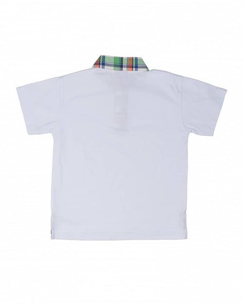 Boys' Polo Shirt with Plaid Trim - Florence Eiseman
