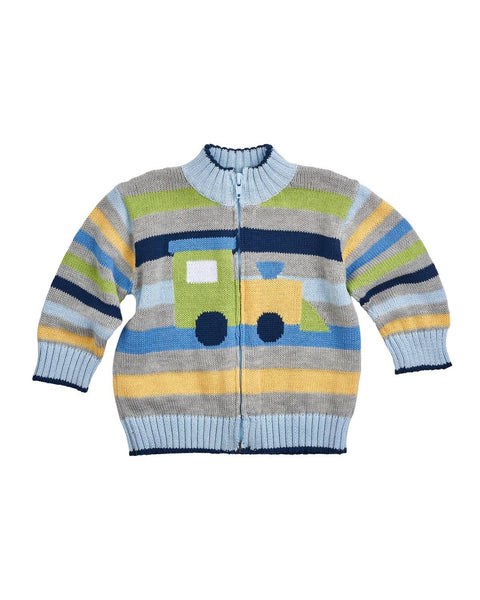 Boys Stripe Sweater with Train - Florence Eiseman